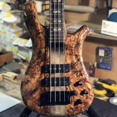 closeup of body of Spector electric bass on stand