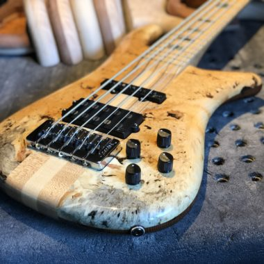 closeup of body of Spector electric bass