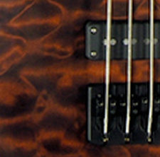 closeup of body of Coda Series electric bass with walnut stain