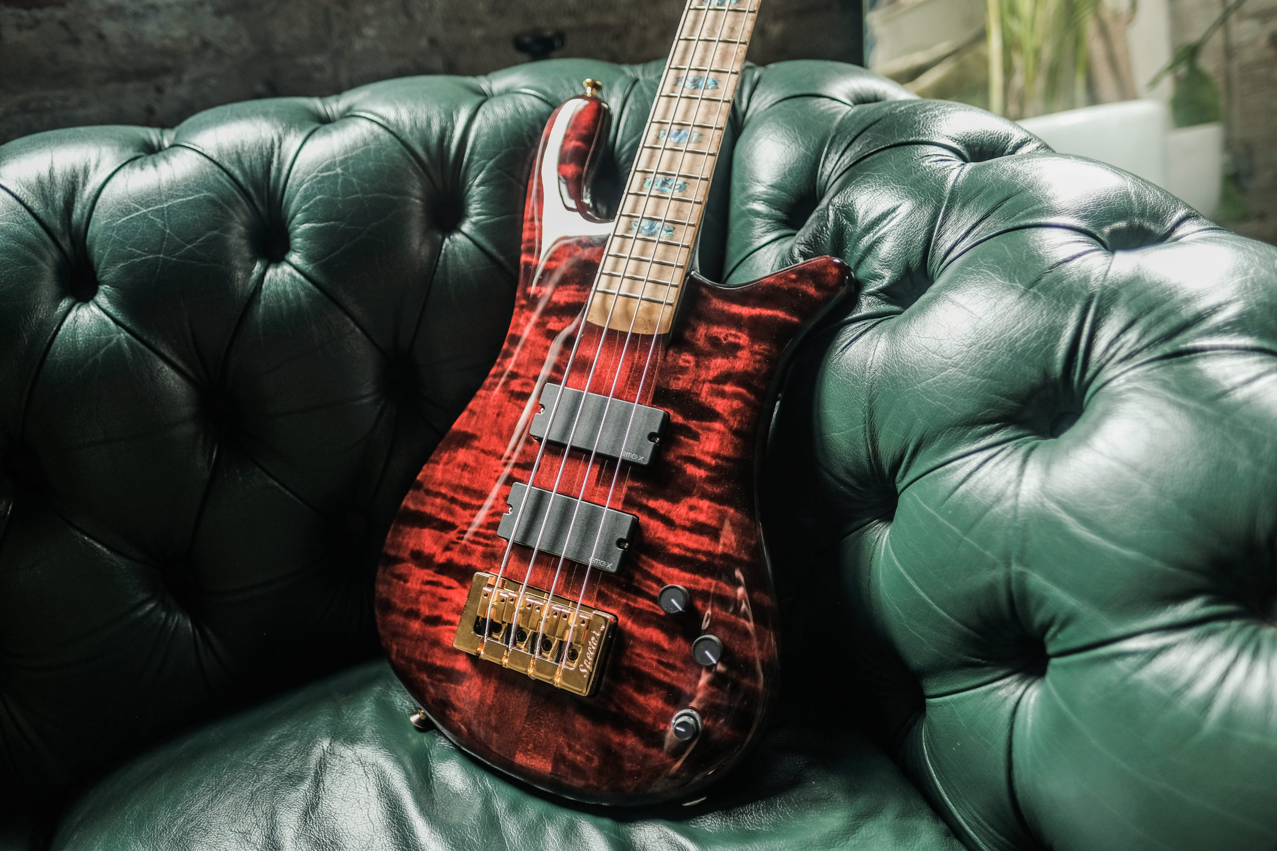 red Spector bass on green sofa
