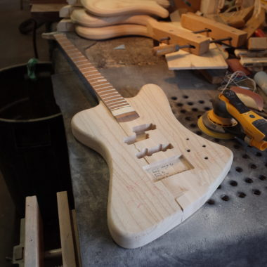 unfinished Spector bass in workshop