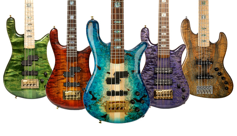 Group of 5 Spector USA Series basses in custom colors