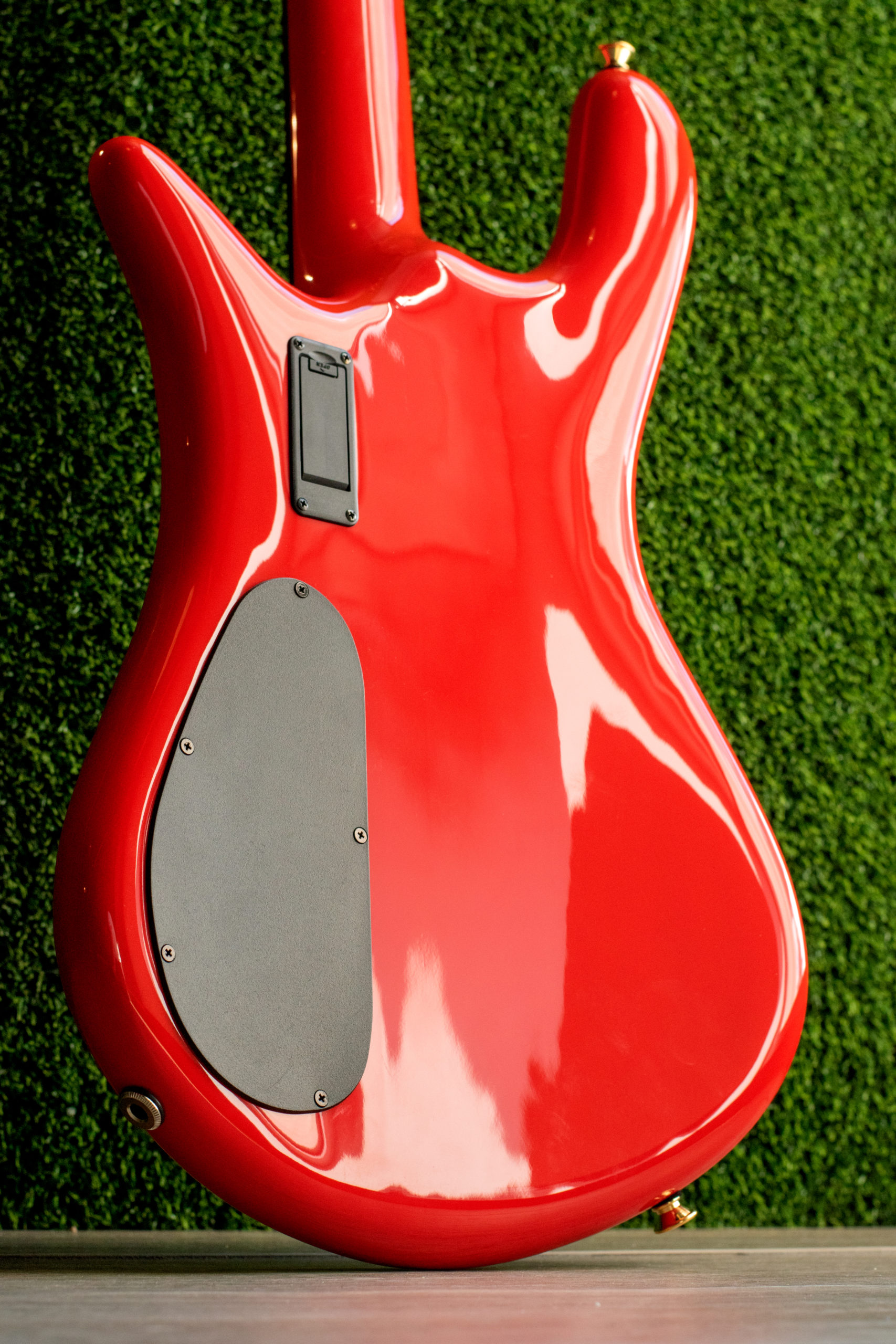 back of red Spector bass