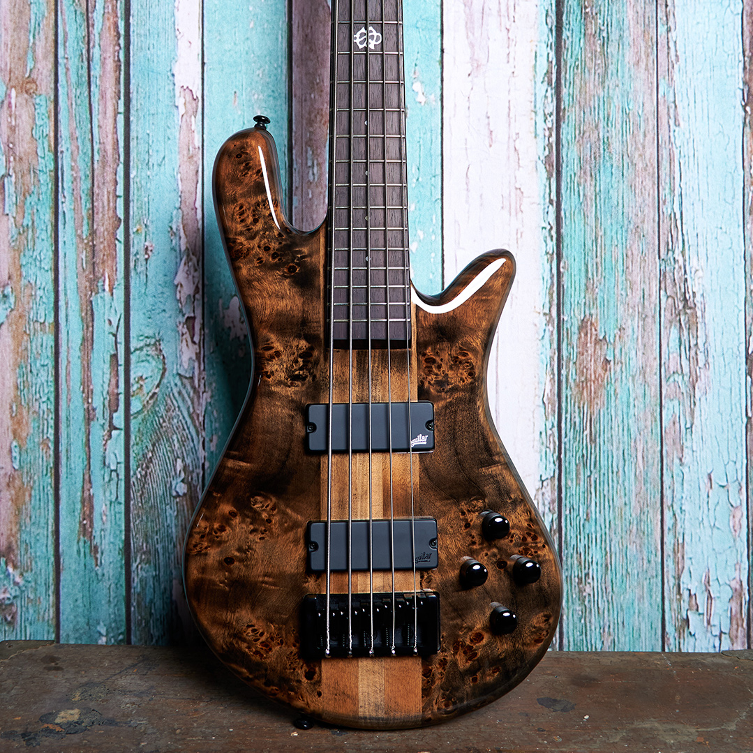 body of brown Spector bass in front of blue wood panels
