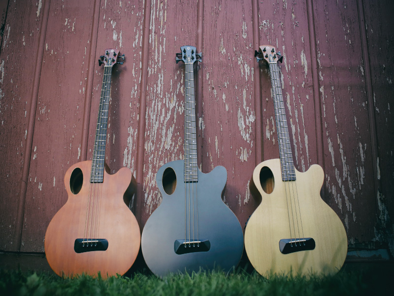 three Spector Timbre acoustic basses in grass leaning up against wooden panels
